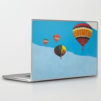 hot air balloons Laptop & iPad Skins featuring Four Hot Air Balloons by Shelley Chandelier