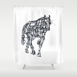 mechanical horse Shower Curtain