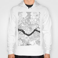 seoul Hoodies featuring Seoul Map Gray by City Art Posters
