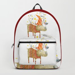 Christmas Reindeer watercolour art Backpack