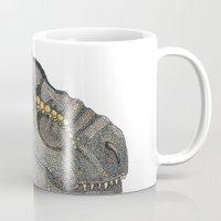 t rex Mugs featuring T-Rex by Raffles Bizarre