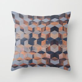 Tumbling Blocks (Sky Quilt 3) Throw Pillow