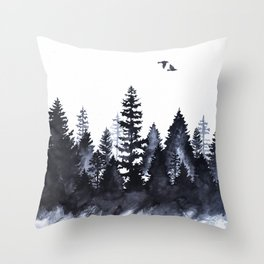 Forest Silhouette Watercolor Throw Pillow