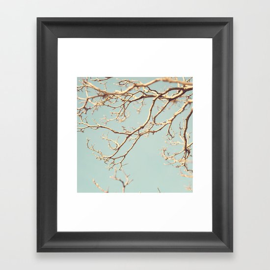 Pale Blue Winter (Tree branches on a retro pale blue sky) Framed Art Print