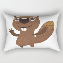 Funny Beaver Moose Rectangular Pillow