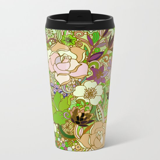 Detailed summer floral pattern, green Metal Travel Mug