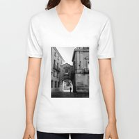 madrid V-neck T-shirts featuring Madrid Walkings by PabloEgM