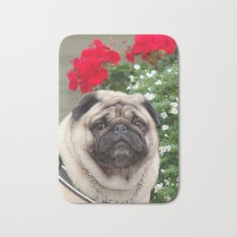 Pug with red flowers,animal print Bath Mat