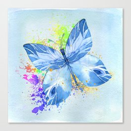 Blue Butterfly Watercolor Rainbow And Gold Canvas Print