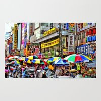 korean Area & Throw Rugs featuring Korean Rain (Painted Version) by Anthony M. Davis