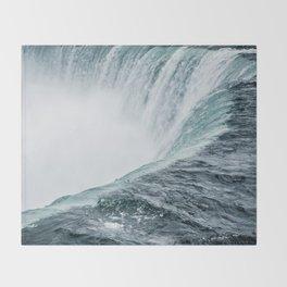 Landscape Photography   Niagara Falls   Waterfall   Aqua   Mist   Fog   Blue   Marine Throw Blanket
