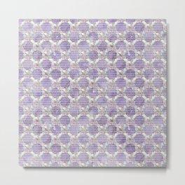 Roses & Forget Me Nots Wreath Purple Metal Print