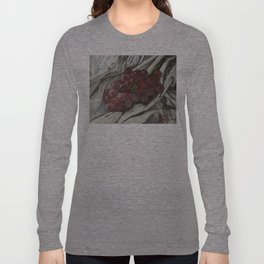 Oil paint on canvas still life painting of grapes on fabric cloth drape contrast fruit  Long Sleeve T-shirt
