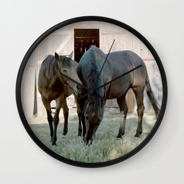In For The Long Haul (Horses in Northern California) Wall Clock