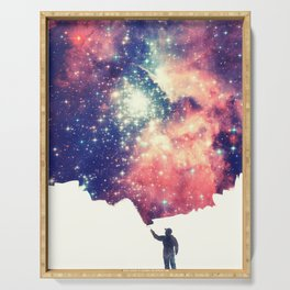 Painting the universe (Colorful Negative Space Art) Serving Tray