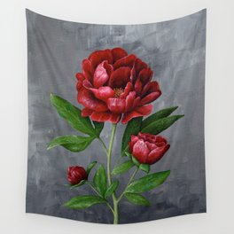 Red Peony Flower Painting Wall Tapestry