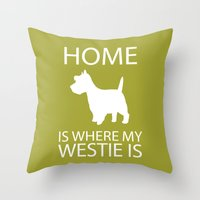 westie Throw Pillows featuring Westie Dog Sihouette Art by pigknit