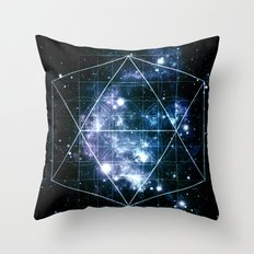 Galaxy Sacred Geometry Deep Ocean Blue Throw Pillow