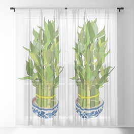 Lucky Bamboo in Porcelain Bowl Sheer Curtain