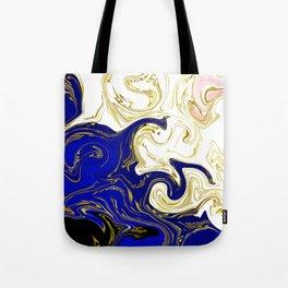 blue ,gold,rose,black,golden fractal, vibrations, circles modern pattern, Tote Bag