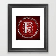 Joshua 24:15 - (Silver on Red) Monogram F Framed Art Print