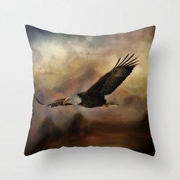 Eagle Flying Free Throw Pillow