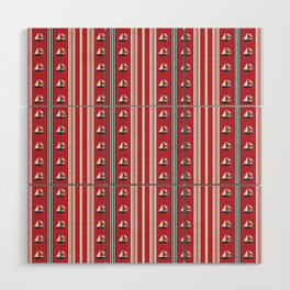 Striped Ahoy Red Wood Wall Art