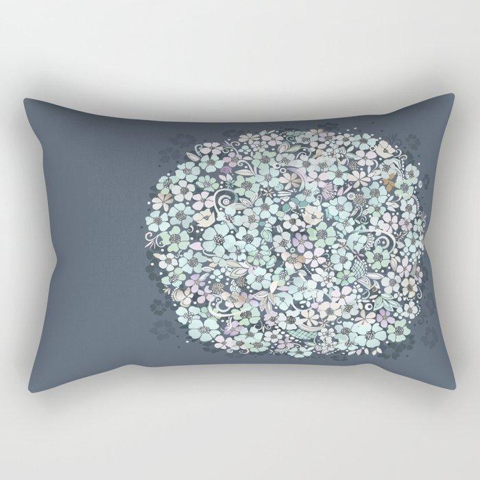 Flower Circle, mist blue Rectangular Pillow
