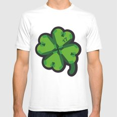 Lucky at 17th march MEDIUM White Mens Fitted Tee