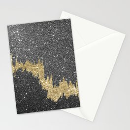 Chic black gold glitter abstract brushstrokes Stationery Cards