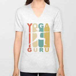 Vintage Style Yoga Guru Warrior Two Yoga Pose Retro Unisex V-Neck