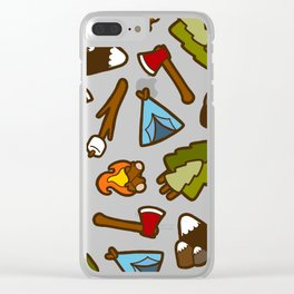 Camping is Cool Pattern Clear iPhone Case