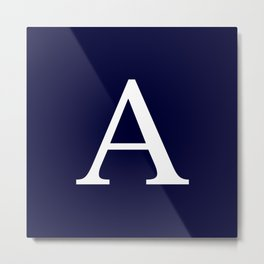 Navy Blue Basic Monogram A Metal Print