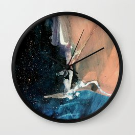 Same Stars [2] - an abstract mixed media piece in blues, pinks, purple,  and black Wall Clock