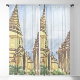 Bangkok Buddhist Temple Thailand Sheer Curtain