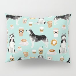 Husky coffee siberian husky owners gifts for dog person dog breed portraits by pet friendly Pillow Sham