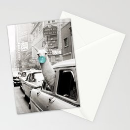 Mint Green Bubble Gum Llama taking a New York Taxi black and white photograph Stationery Cards