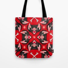 Vampire Bat Face Geometric Pattern Tote Bag