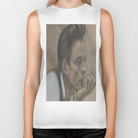 johnny cash Biker Tanks featuring Johnny Cash by Tex Bigrancher