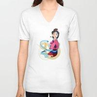 mulan V-neck T-shirts featuring Mulan: Reflection by Minette Wasserman