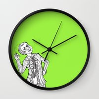 dangan ronpa Wall Clocks featuring kuzuryuu by Mottinthepot
