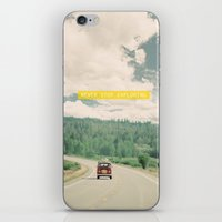sister iPhone & iPod Skins featuring NEVER STOP EXPLORING - vintage volkswagen van by Leslee Mitchell