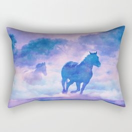 Horses run Rectangular Pillow
