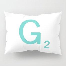 Aqua Letter G Custom Scrabble Pillow Sham