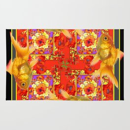 GOLD FISH & RED POPPIES GEOMETRIC BLACK ARTWORK Rug