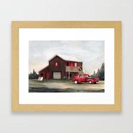 Red house, red truck Framed Art Print