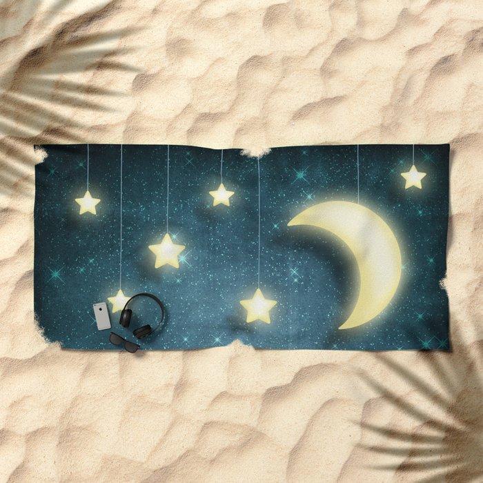 Moon & Stars 01 Beach Towel