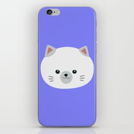 Cute white kitty with gray ears iPhone Skin
