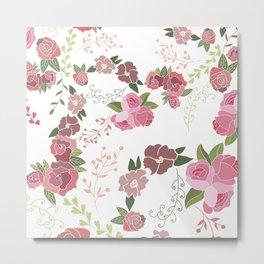 Pink Roses Pattern Metal Print