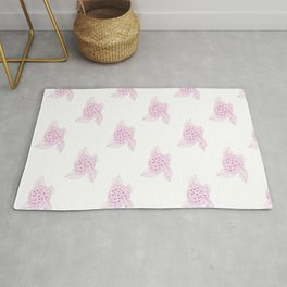Snowy And Pink Vintage Floral Illustration Of Hydrangea Flowers Rug